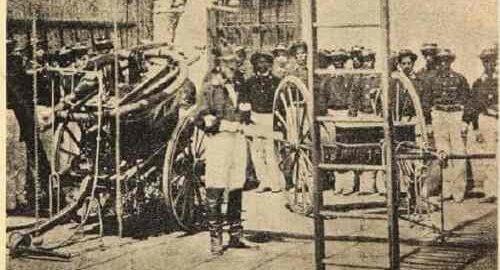 Bomba a palanca que posteriormente fue usada por la Novena